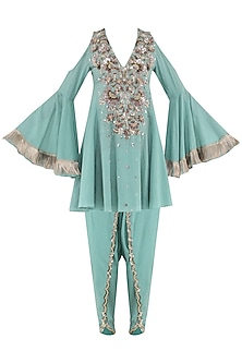 Aqua Blue Embroidered Baroque Kurta with Tulip Pants