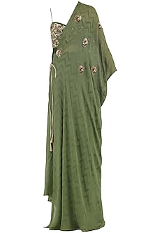Olive Green Embroidered Crop Top, Kaftan and Pants Set