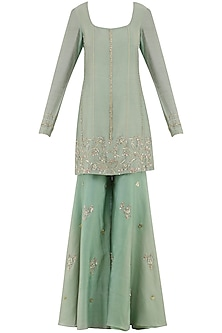 Sage Green Embroidered Sharara Pants Set by Ohaila Khan