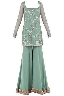 Aqua Green Embroidered Tassel Detailed Sharara Pants Set