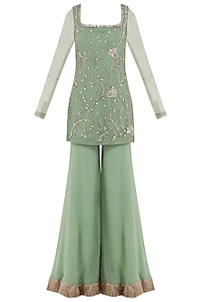 Sage Green Embroidered Tassel Detailed Sharara Pants Set