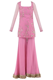 Rose Pink Embroidered Sharara Pants Set