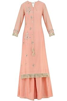 Coral Embroidered Sharara Pants Set