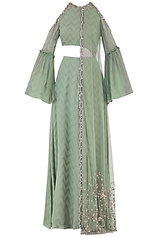 Khakhi Green Embroidered Cutout Anarkali Gown