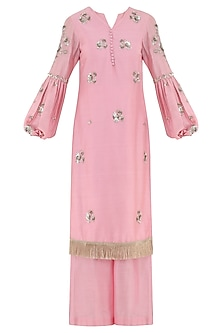 Peony Pink Embroidered Kurta with Palazzo Pants