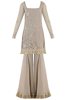 Taupe Embroidered Sharara Pants Set