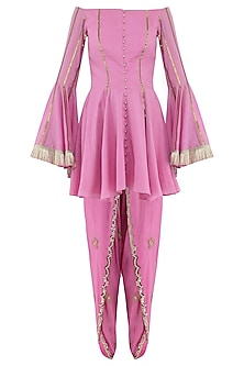 Rose Pink Embroidered Peplum Kurta with Tulip Pants