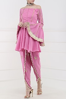 Rose Pink Embroidered Peplum Kurta with Tulip Pants by Ohaila Khan