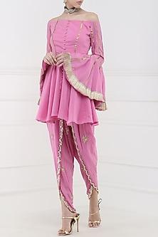 Rose Pink Embroidered Peplum Kurta with Tulip Pants by Ohaila Khan