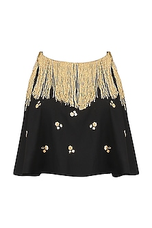 Black Embroidered Fringe Cape Top