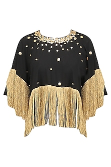 Black Embroidered Fringe Top