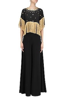 Black Embroidered Fringe Top by Ohaila Khan