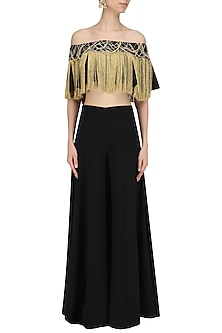 Black Off Shoulder Embroidered Cape Top by Ohaila Khan