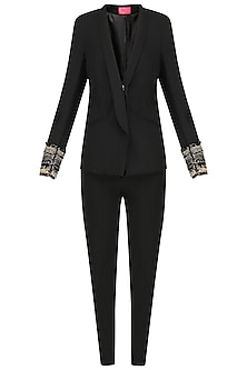 Black Embroidered Pant Suit