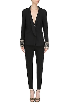 Black Embroidered Pant Suit by Ohaila Khan