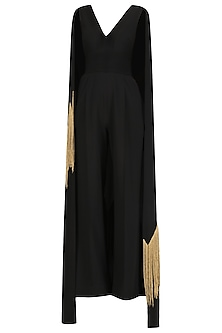 Black Embroidered Cape Jumpsuit