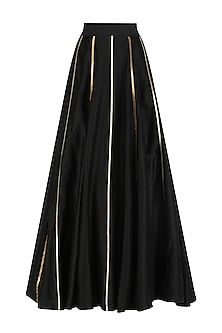 Black Gota Embroidered Circular Skirt
