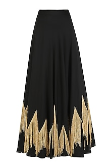 Black Embroidered Circular Skirt