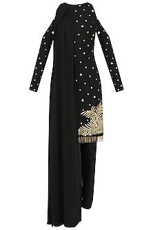 Black Embroidered Cold Shoulder Cape Kurta Set