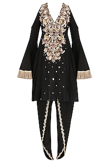 Black Embroidered Cold Shoulder Kurta with Tulip Pants Set