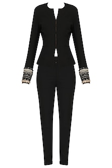 Black Embroidered French Pant Suit