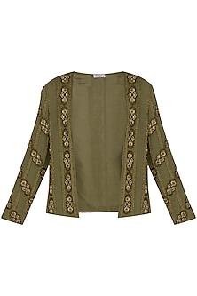 Green Embroidered Blazer Jacket by Ollari