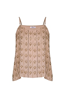 Chestnut Beaded Strappy Top by Ollari