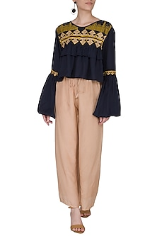 Navy Blue Embroidered Cropped Blouse by Ollari