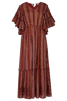 Wine Embroidered Maxi Dress by Ollari