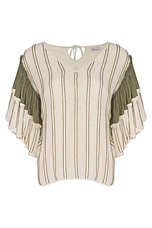 Ivory & Blush Pink Hand Beaded Top by Ollari