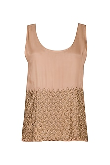 Chestnut Hand Beaded Tank Top by Ollari