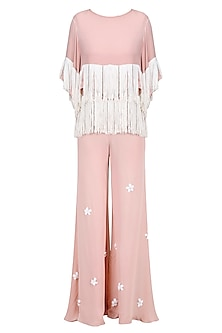 Blush and Ivory Fringe Tassel Top and 3D Flower Motifs Palazzo Pants Set