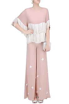 Blush and Ivory Fringe Tassel Top and 3D Flower Motifs Palazzo Pants Set by Ohaila Khan