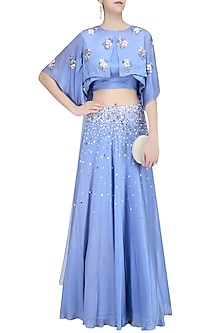 Serenity Blue Sequinned Lehenga and 3D Flower Motifs Blouse Set by Ohaila Khan