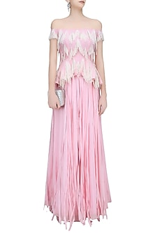 Candy Floss Pink Fringe Tassel Off Shoulder Top and Lehenga Set by Ohaila Khan