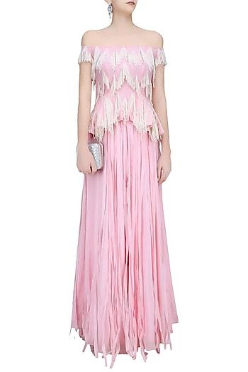 Candy Floss Pink Fringe Tassel Off Shoulder Top and Lehenga Set by Ohaila Khan