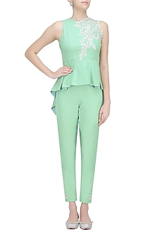 Mint Sage Resham Embroidered Peplum Top and Pants Set by Ohaila Khan