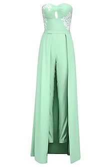 Mint Sage Resham Embroidered Jumpsuit Gown with Detachable Skirt