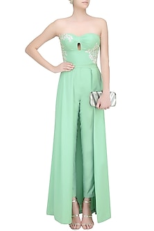 Mint Sage Resham Embroidered Jumpsuit Gown with Detachable Skirt by Ohaila Khan