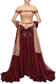 Nude and Wine Beads Embroidered Lehenga Set by Ohaila Khan