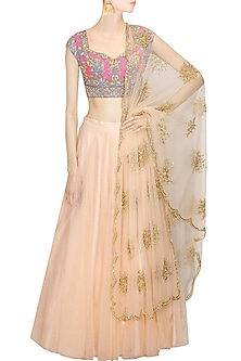 138619675ce6 Blush peach firework embroidred lehenga set available only at ...
