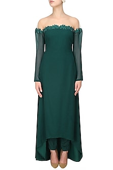 Teal green leaf resham and sequins embroidered off shoulder asymmetrical dress and pants set by Ohaila Khan