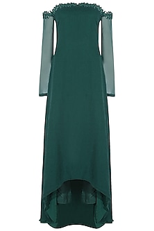 Teal green leaf resham and sequins embroidered off shoulder asymmetrical dress and pants set