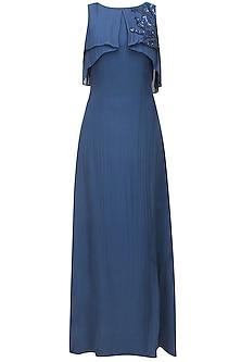Cobalt blue leaf embroidered ruffled drape big cape gown by Ohaila Khan