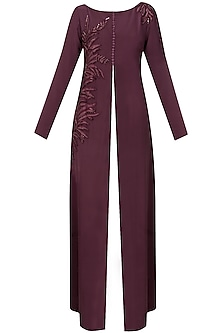 Aubergine leaf embroidered front open high slit cape jacket and navy blue pants set