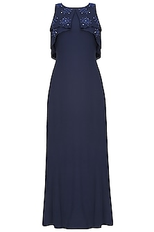 Navy blue floral motifs ruffled drape big cape gown by Ohaila Khan