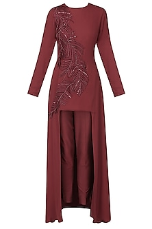 Ruby leaf pattern pearl, sequins and beads embroidered cape and pants set
