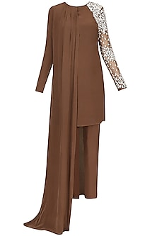 Brown Resham Embroidered Flowers Cape Kurta And Trouser Pants Set by Ohaila Khan