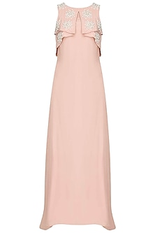 Blush Microbeads And Pearl Embroidered Bib Draped Cape Gown