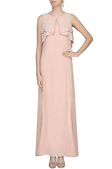 Blush Microbeads And Pearl Embroidered Bib Draped Cape Gown by Ohaila Khan